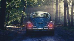 Preview wallpaper car, retro, forest, fog