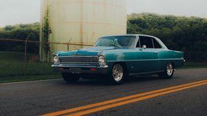 Preview wallpaper car, retro, vintage, blue, side view, road