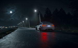 Preview wallpaper car, road, night, asphalt, wet, dark