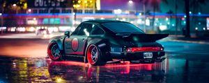 Preview wallpaper car, sports car, neon, backlight, asphalt