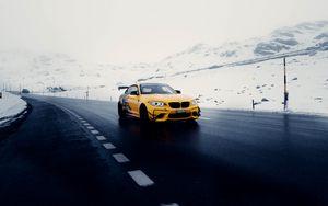 Preview wallpaper car, sports car, yellow, road, snow
