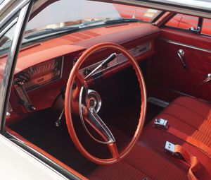 Preview wallpaper car, steering wheel, salon, retro, red