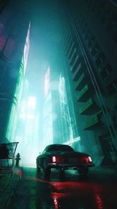 Preview wallpaper car, street, tailights, light, dark