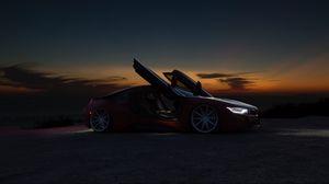Preview wallpaper car, supercar, sports car, night, sunset