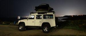 Preview wallpaper car, suv, white, stars, night