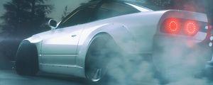 Preview wallpaper car, white, drift, smoke, asphalt