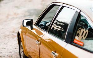 Preview wallpaper car, yellow, retro, road