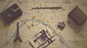 Preview wallpaper card, notebook, pencil, camera, retro, vintage