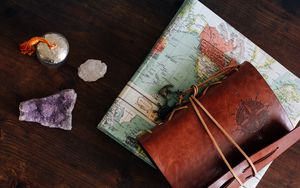 Preview wallpaper card, notebook, travel