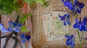 Preview wallpaper cards, flowers, scissors, wooden, still life