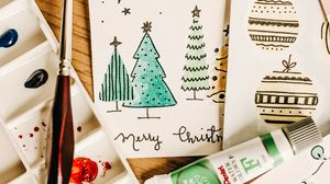 Preview wallpaper cards, paints, brush, drawing, christmas, new year