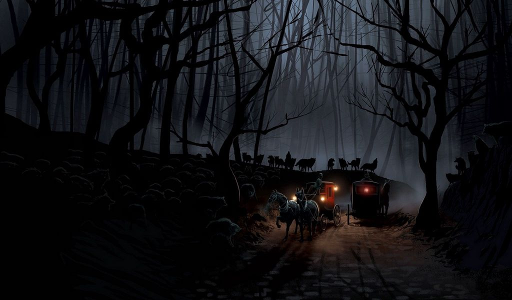 1024x600 Wallpaper carriage, wood, night, wolves, flight
