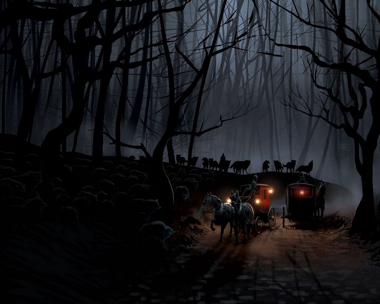 1280x1024 Wallpaper carriage, wood, night, wolves, flight