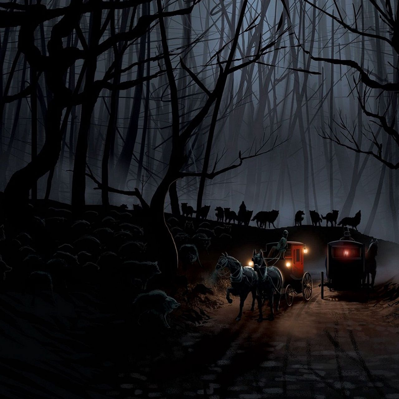1280x1280 Wallpaper carriage, wood, night, wolves, flight