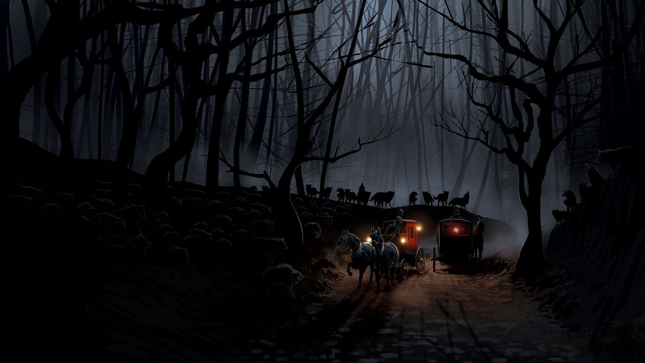 1280x720 Wallpaper carriage, wood, night, wolves, flight