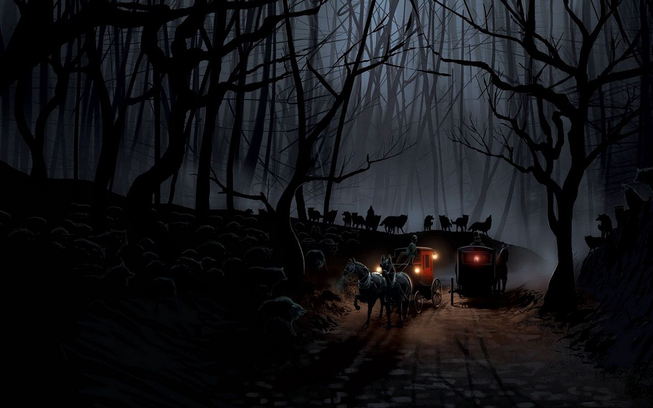 1280x800 Wallpaper carriage, wood, night, wolves, flight