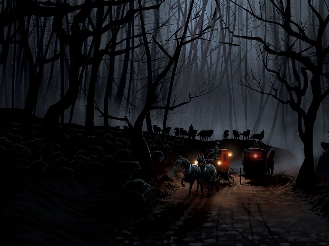 1280x960 Wallpaper carriage, wood, night, wolves, flight