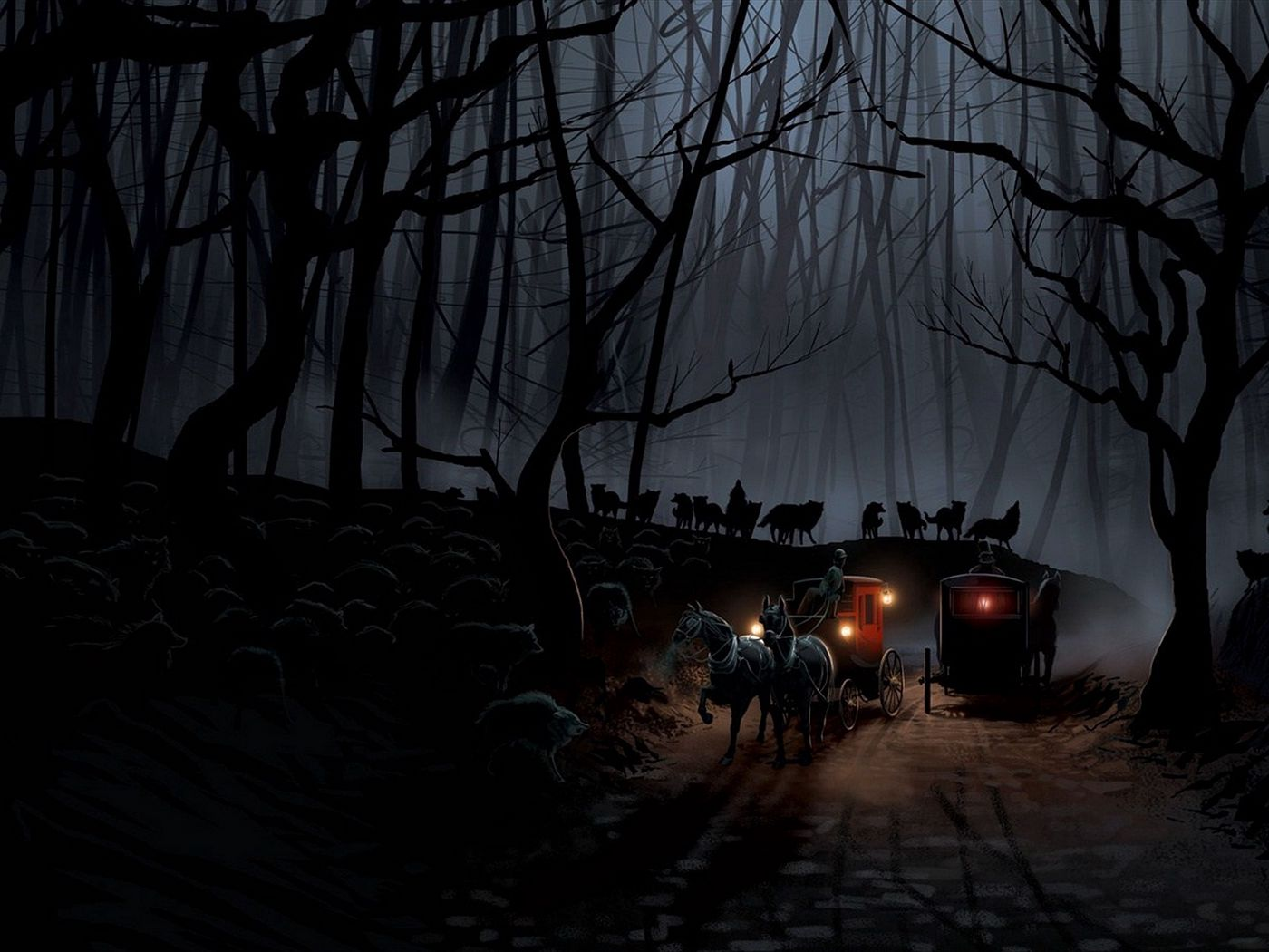 1400x1050 Wallpaper carriage, wood, night, wolves, flight