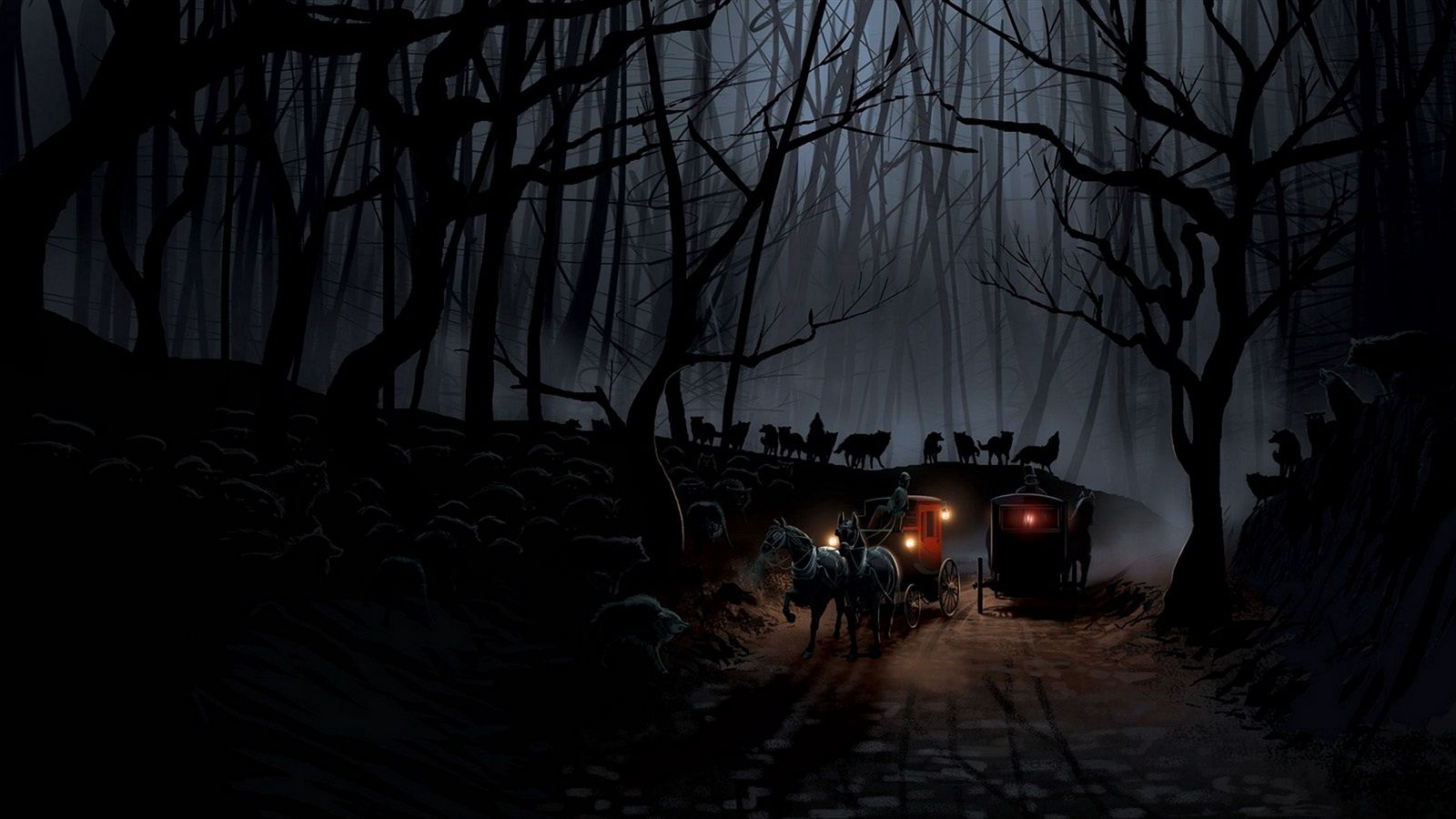 1600x900 Wallpaper carriage, wood, night, wolves, flight
