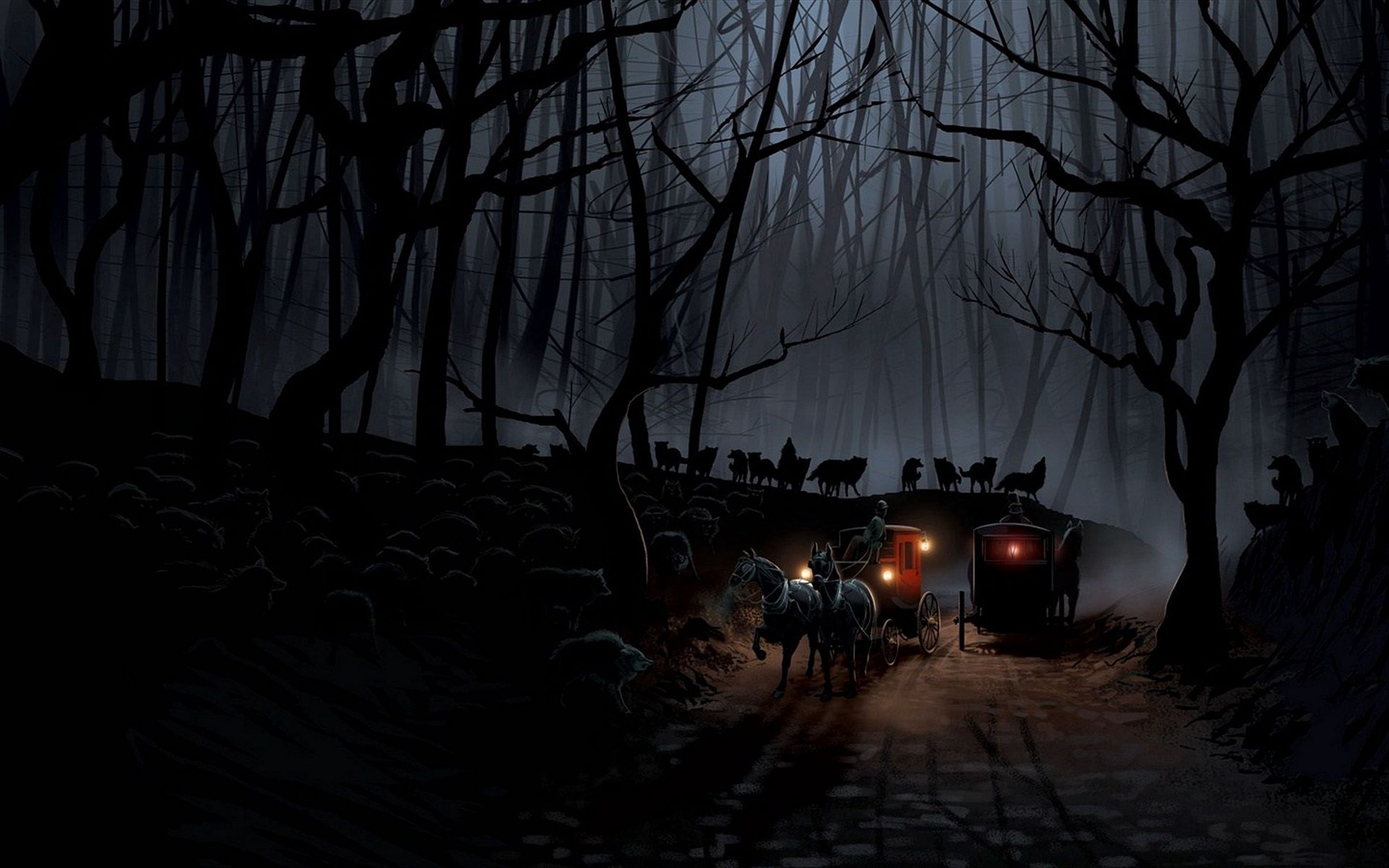1920x1200 Wallpaper carriage, wood, night, wolves, flight