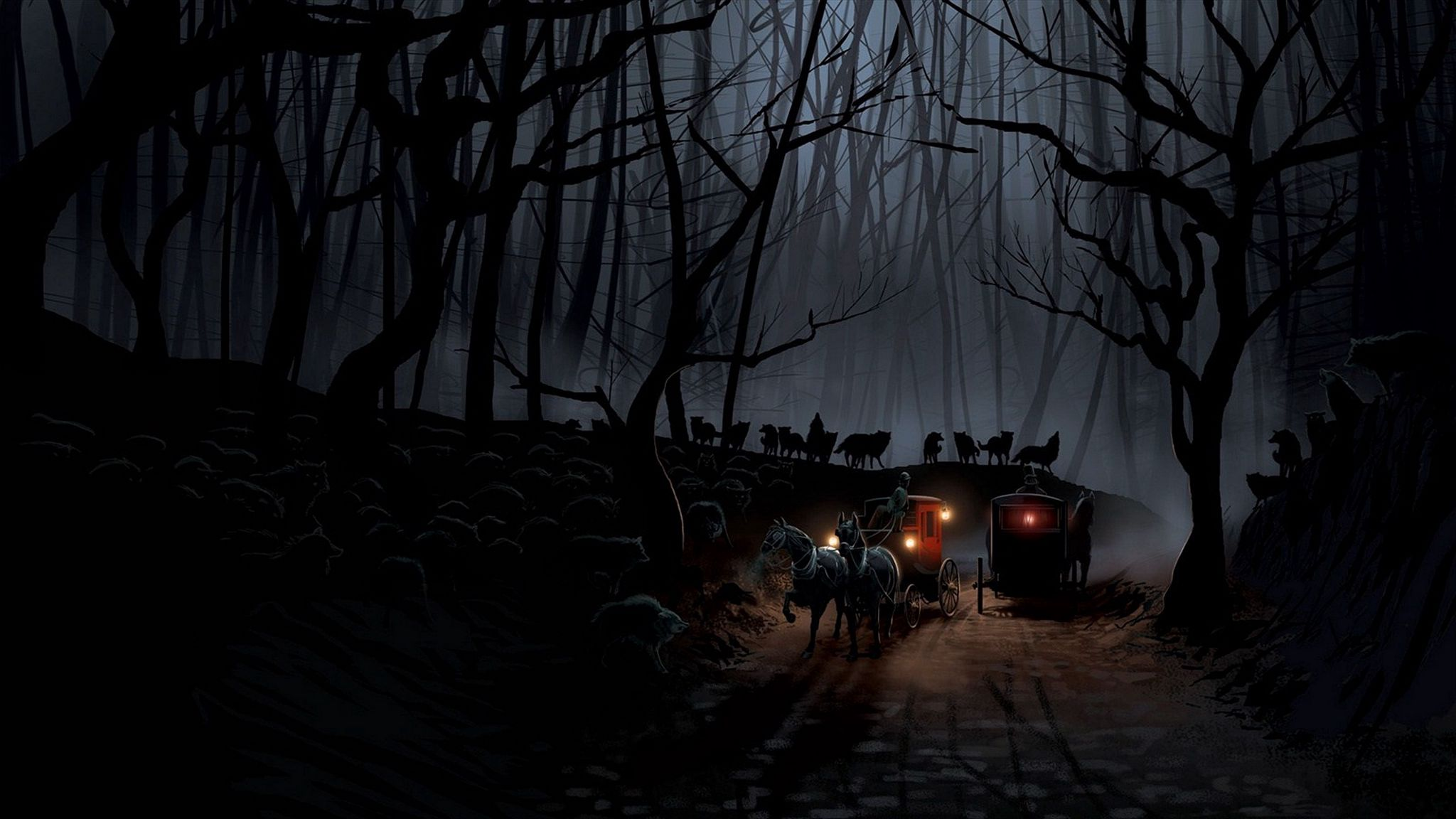 2048x1152 Wallpaper carriage, wood, night, wolves, flight