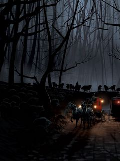 240x320 Wallpaper carriage, wood, night, wolves, flight