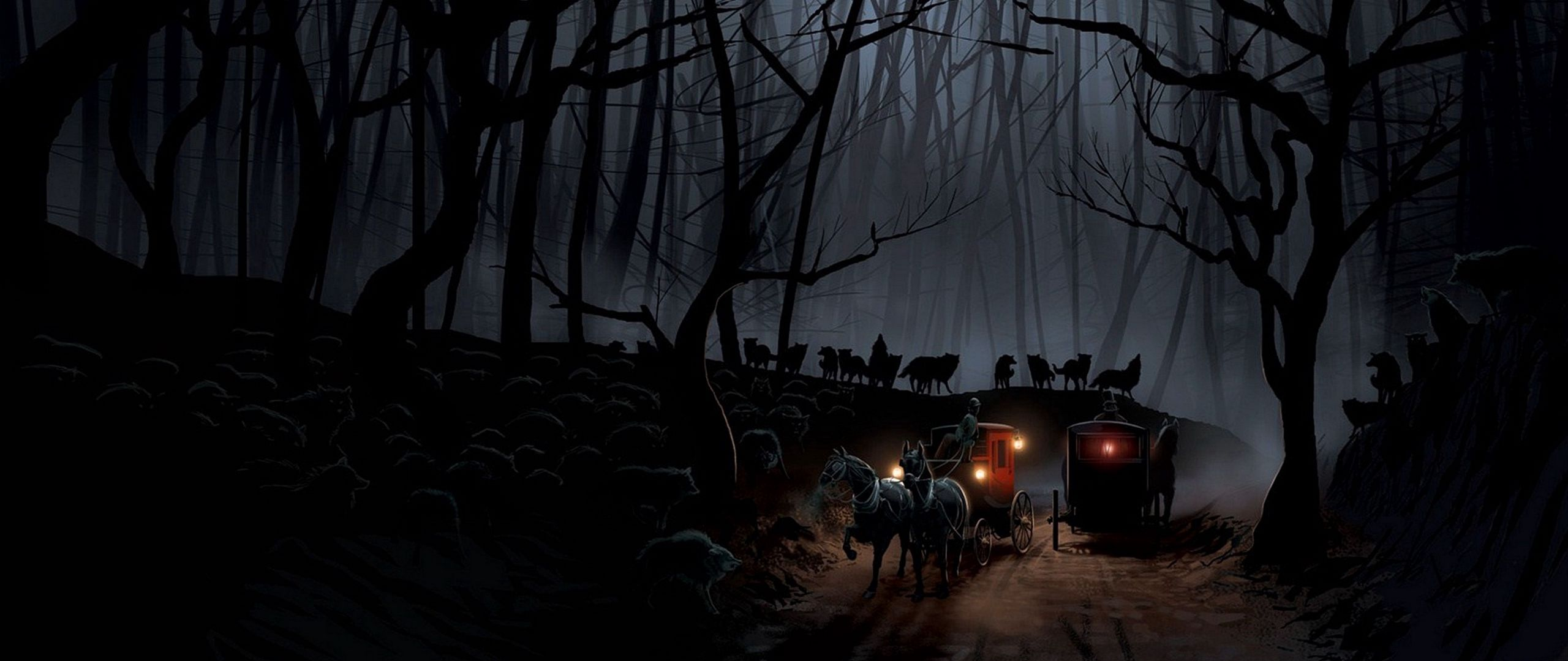 2560x1080 Wallpaper carriage, wood, night, wolves, flight