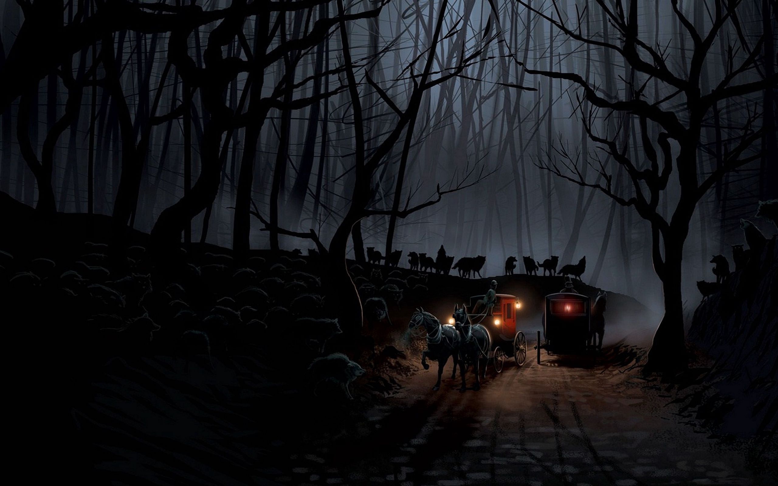 2560x1600 Wallpaper carriage, wood, night, wolves, flight