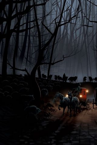 320x480 Wallpaper carriage, wood, night, wolves, flight