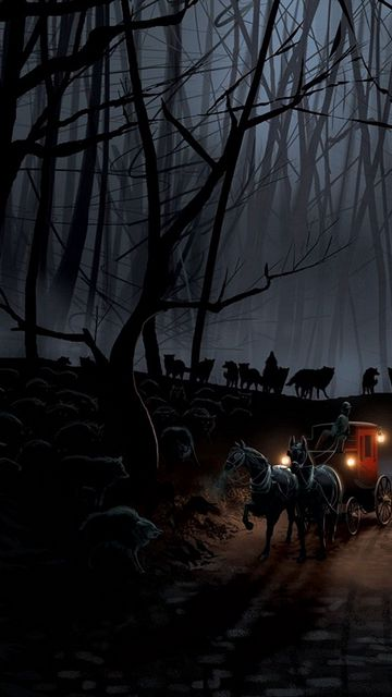 360x640 Wallpaper carriage, wood, night, wolves, flight
