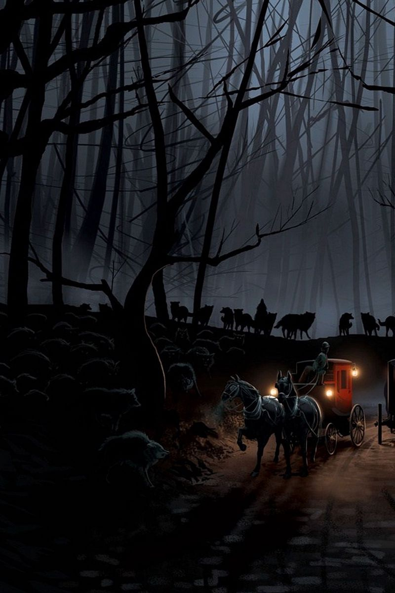 800x1200 Wallpaper carriage, wood, night, wolves, flight