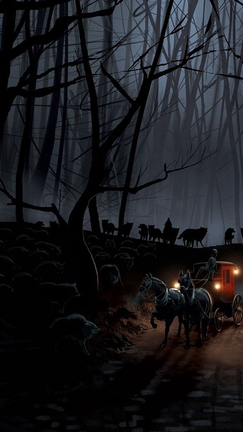 800x1420 Wallpaper carriage, wood, night, wolves, flight