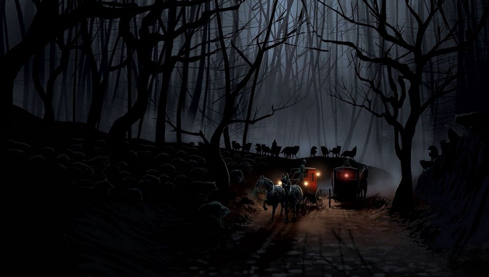 960x544 Wallpaper carriage, wood, night, wolves, flight