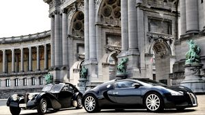 Preview wallpaper cars, bugatti, veyron, luxury, black, parked, building