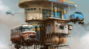 Preview wallpaper cars, building, sky, art, fiction, sсi-fi
