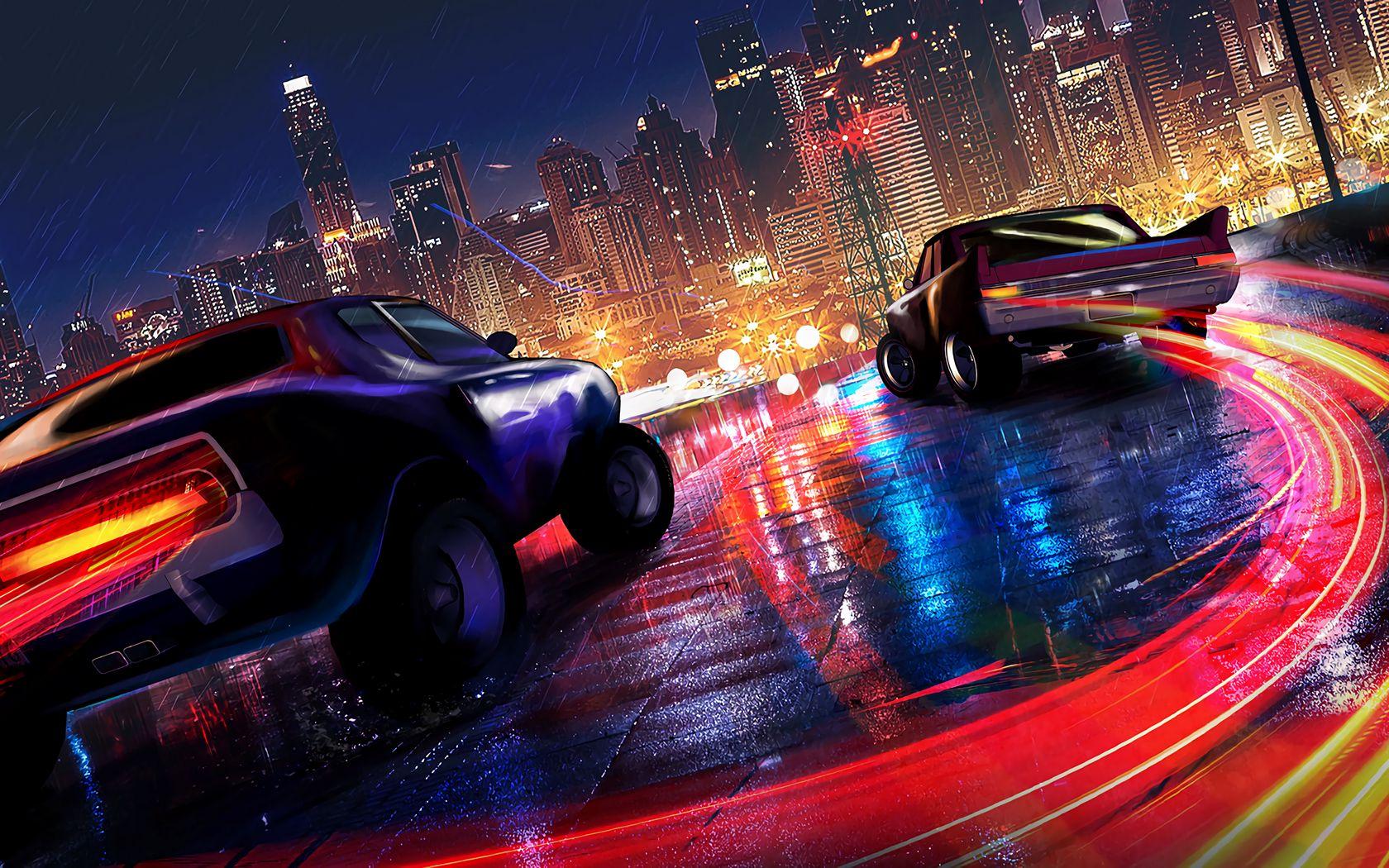 1680x1050 Wallpaper cars, lights, city, motion, rain, wet