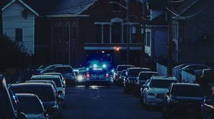 Preview wallpaper cars, police, lights, street, city