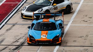 Preview wallpaper cars, sports cars, race, track, aerial view