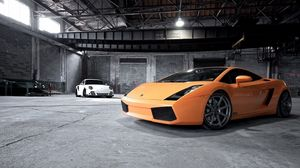 Preview wallpaper cars, style, lamborghini, orange, garage