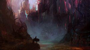 Preview wallpaper castle, art, rider, horse, fantastic, silhouette
