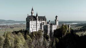 Preview wallpaper castle, building, architecture, ancient, hill, forest