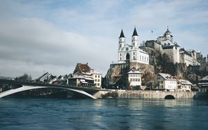 Preview wallpaper castle, building, architecture, old, river, shore