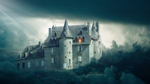 Preview wallpaper castle, clouds, gloomy, mystical