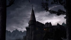 Preview wallpaper castle, eminence, night, light, trees, walls