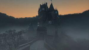 Preview wallpaper castle, fog, mountains, wierschem, germany