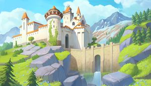 Preview wallpaper castle, towers, architecture, mountains, art
