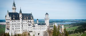 Preview wallpaper castle, towers, architecture, trees, aerial view