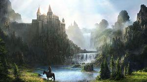 Preview wallpaper castle, waterfall, mountains, green, horseman