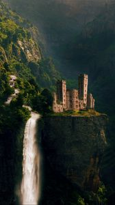 Preview wallpaper castle, waterfall, rocks, fairy, photoshop