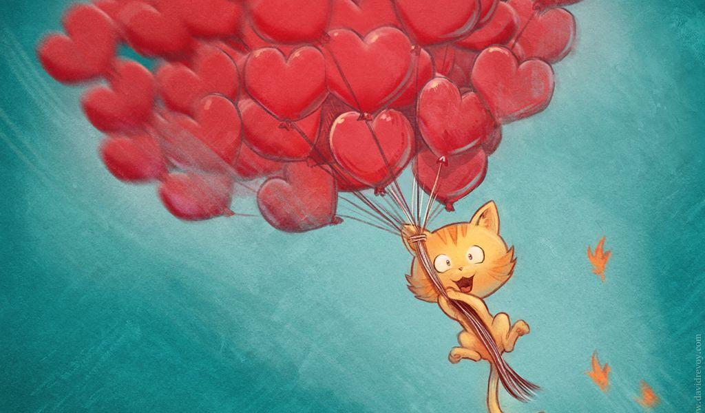 1024x600 Wallpaper cat, balloons, hearts, flight, sky, art